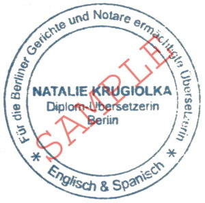 Stamp for the certified translation of documents - Certification stamp